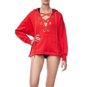 Good American Red Lace Up Hoodie